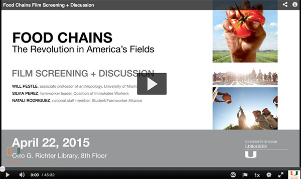 Food Chains is available for checkout on DVD from Richter Library.