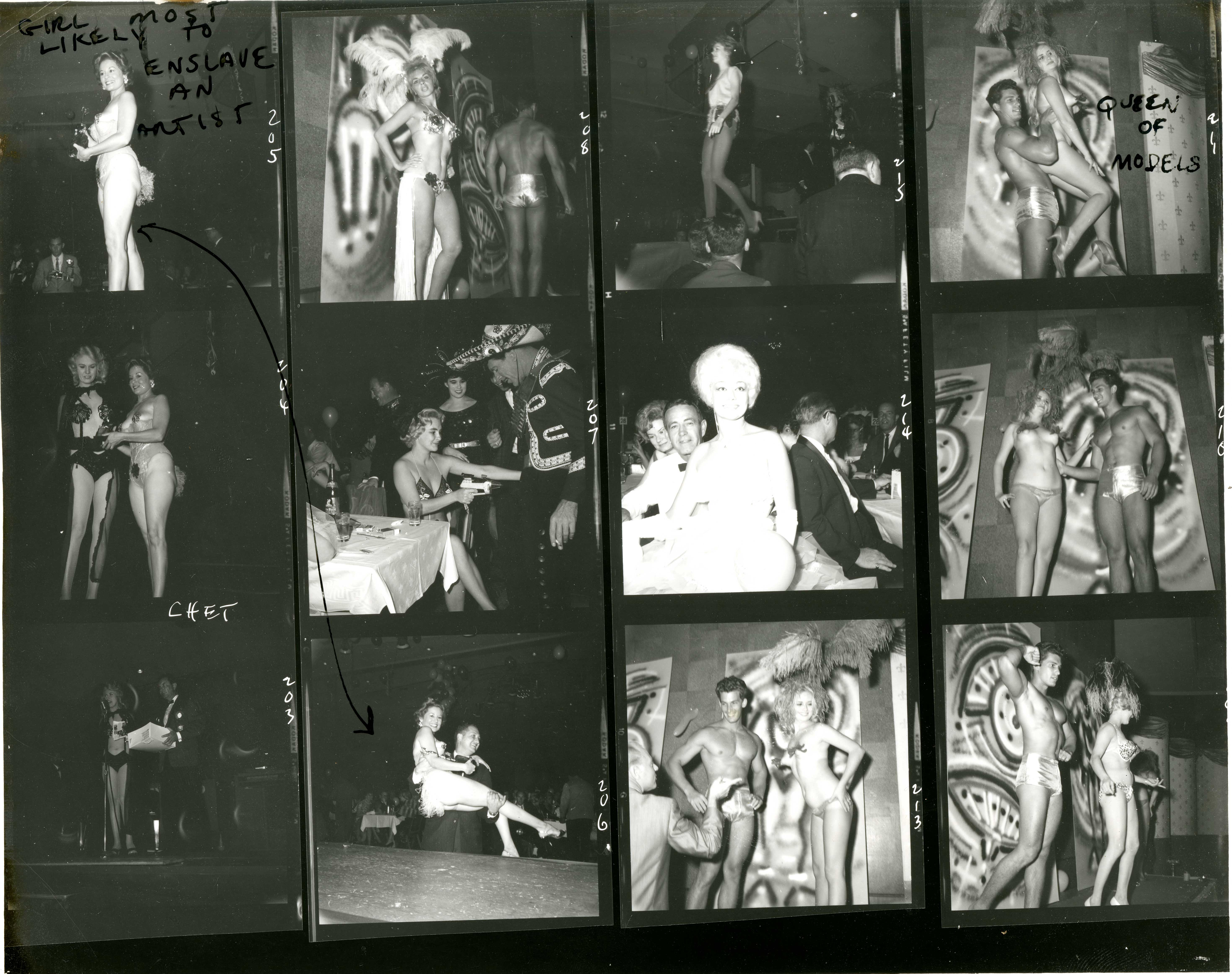 A contact sheet showing Bunny's photographs from the Artists and Models Ball