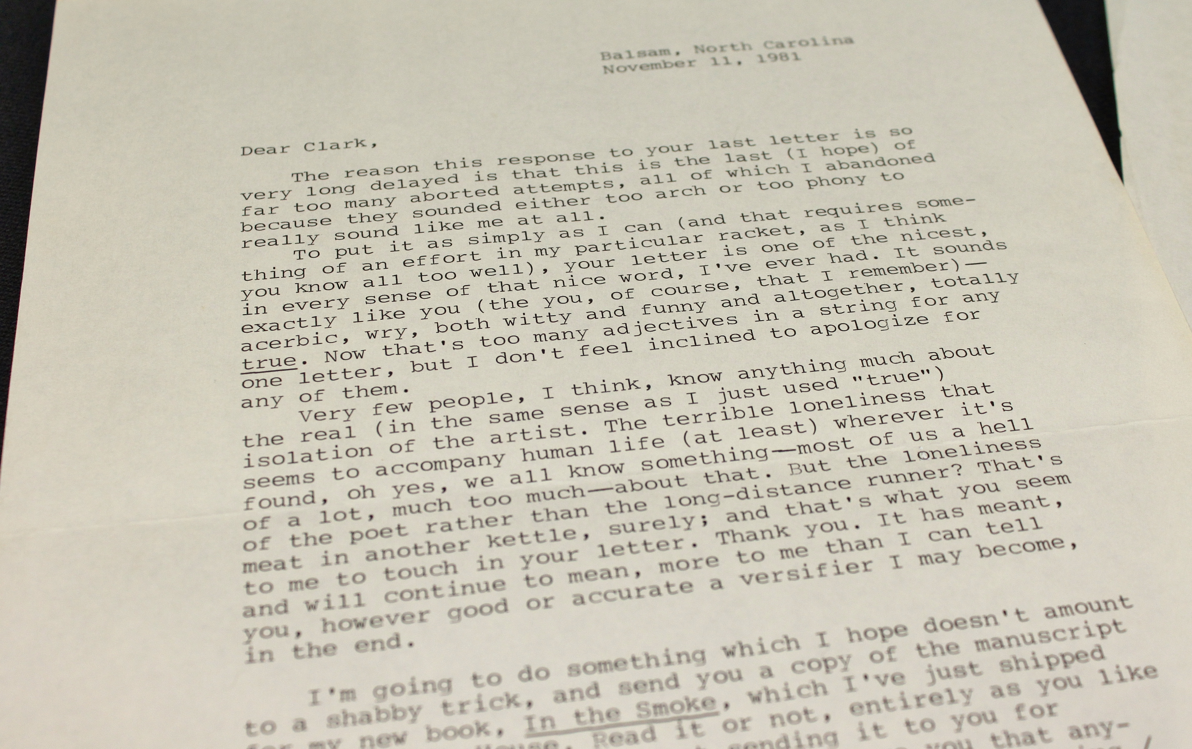 Letter from Perry to Clark Mixon Emery, November 11, 1981.