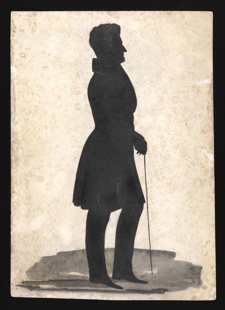 A full-length profile of M'Kenney holding a cane in his left hand and a top hat in his right. Although difficult to see here, details such as hair, collar, hand, and hat are delicately inked in white.